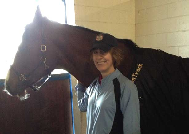 Sharon Barton of Winning Touch Massage visits from Oregon and works on Verona and Alexiss (pictured).